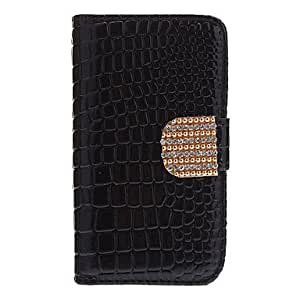 Crocodile Stripe Pattern Full Body Case with Golden Diamond Button and Card Slot for iPhone 4/4S (Assorted Colors) --- COLOR:Black