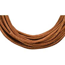 Full-grain leather cord, 2mm round natural brown 5 yard