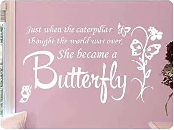 Large White Butterfly Caterpillar..Wall Decal Little Girls Room Nursery  Decal Quote Vinyl Love