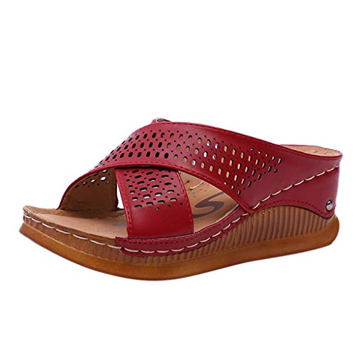 KINGOLDON Women's Retro Casl Slip On High Heels Thick Platforms Shoes Outdoor Slippers Casl Ankle Buckle Strap Flat Slides Shoes Red