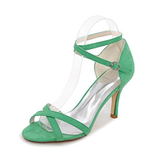 L@YC Damen Sommer Kleid Party & Festivität Schnalle Stöckelabsatz Silber Green