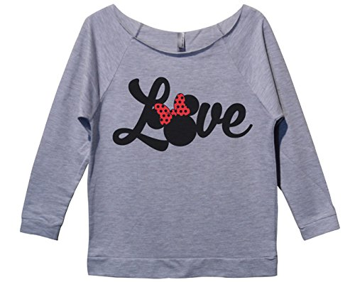 "Womens Minnie Mouse 3/4 Sleeve ""Love Disney World Sweat Shirt Gift XX-Large, Heather -"