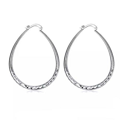 Xmeden 925 Sterling Silver Fashion Classic Big Hoop Drop Dangle Earring