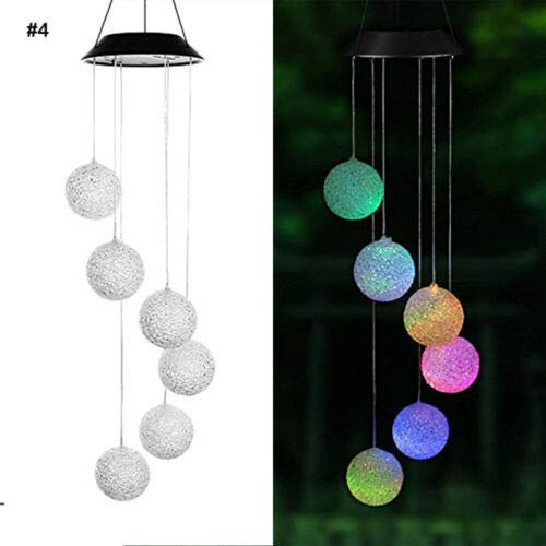 JDgoods Solar Light Wind Chime, LED Color Changing Waterproof Rotatable Outdoor Garden Camping Hanging Light Lamp Bulb Globe Hanging Lights for Home Christmas Party Holiday Decorations ()