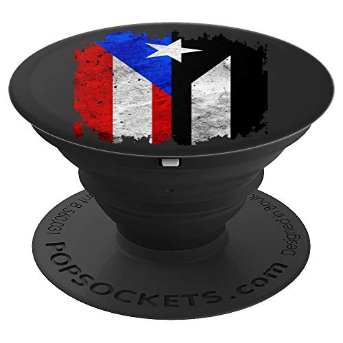 Puerto Rico Flag with Resiste Black Protest Flag Taino Art PopSockets Grip and Stand for Phones and Tablets