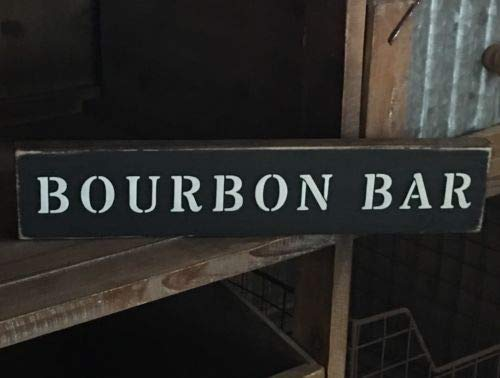(123RoyWarner Handcrafted Wood Sign Bourbon Bar Distressed Home Decor Alcohol Bourbon Street)