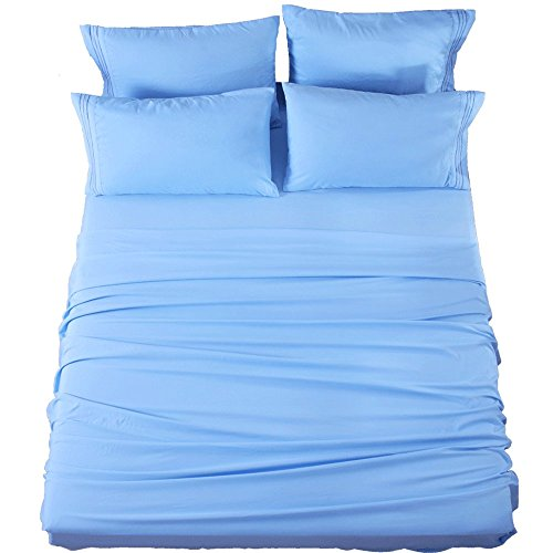 Queen Sheets Bed Sheets Set Microfiber Super Soft 1800 Thread Count Luxury Egyptian Sheets 16-Inch Deep Pocket Wrinkle Fade and Hypoallergenic - 6 Piece (Lake Blue) - Sonoro Kate