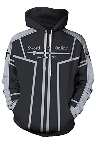 COSMOVIE Casual Hoodie for Mens Kirito Coat Costume Anime SAO Jacket -
