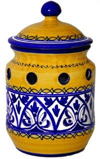 Ceramic Garlic Keeper from Spain. Fiesta Yellow Pattern Inc.