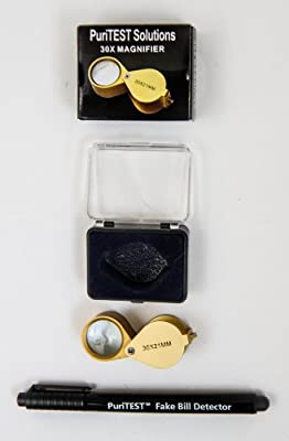 30 x 21mm Magnifying Eye Loupe for Gold Silver Jewelry + Coins and PuriTEST Bill Detector Pen Marker Spot Forgeries and Fake Bills Legitimate Notes Money Paper UNC Notes Jewelers Gift Investment Pure 30x 21 mm America Global World