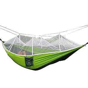 Camping hamaca, Rasse® Mosquito Red al aire libre hamaca Cama de viaje ligero Tela de paracaídas hamaca doble para uso en interiores, Camping, Senderismo, Backpacking, Patio, verde