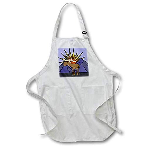 3dRose All Smiles Art - Travel - Cool Artistic Sun Rise and Mountains and Moose Design - Full Length Apron with Pockets 22w x 30l (apr_315993_1) ()