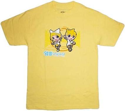 Amazon Com Vocaloid Ge Hatsune Miku Kagamine Rin And Len Men Yellow T Shirt Clothing