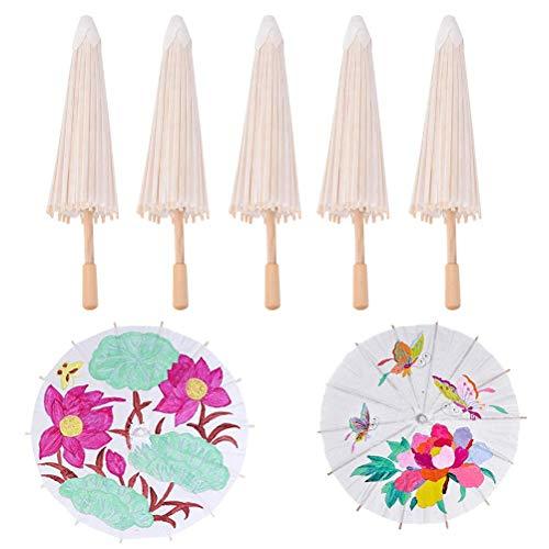 Xiangfeng 5 PCS Blank Paper Umbrella Japanese Chinese Umbrella Parasol Kids DIY Umbrella Projects,Dia 40cm