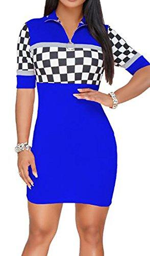 Sleeve Bodycon Blue Front V Neck Domple Mini Womens Sexy Zipper Dress Deep Short Plaid Club qn66tBv4y