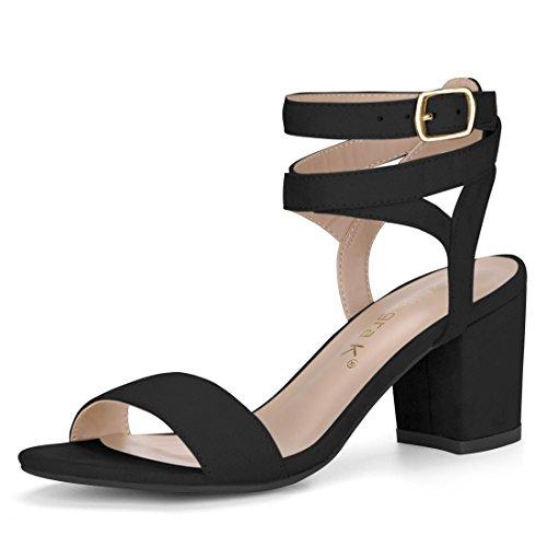 Double Allegra Chunky Black Ankle Sandals Heels K Low Women Straps qRRPwE6