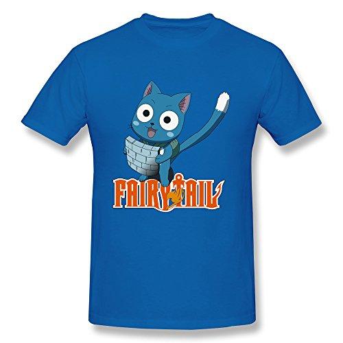 Funny Happy Cat Japan Cool T-Shirt For Man XXL RoyalBlue -