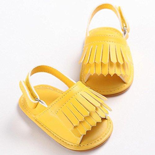 Saingace Kleinkind Mädchen Krippe Schuhe Neugeborene Blume Soft Sohle Anti-Rutsch Baby Sneakers Sandalen Gelb