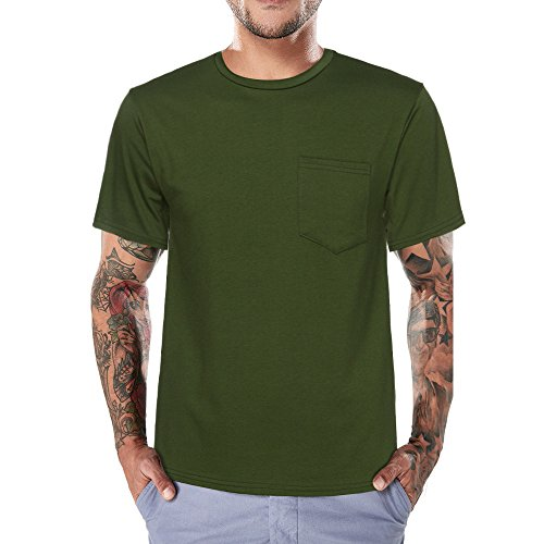 TOPUNDER Mens Top Men Tee Slim Fit O Neck Short Sleeve Muscle Pocket Casual Tops Blouse GN/3XL Green