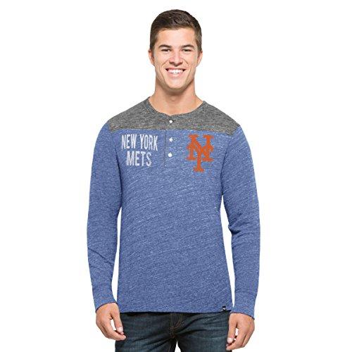 ('47 MLB New York Mets Men's Neps Henley Long Sleeve Tee, X-Large, Coastal Blue )