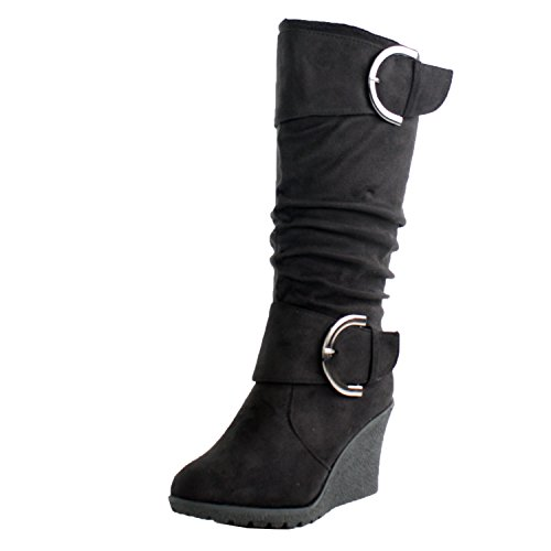 Top Moda Pure 2 Womens Buckle Slouch Wedge Boots Black 10 (Black Suede Calf Wedge Boots)