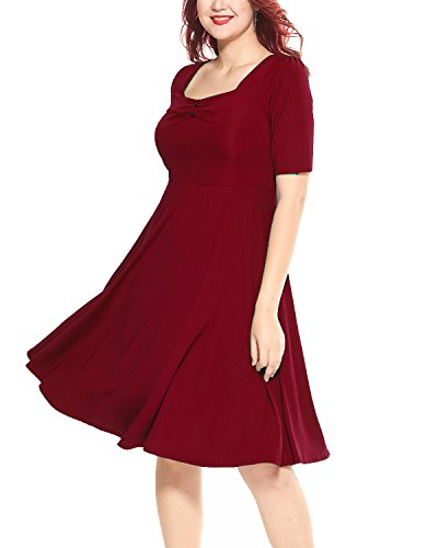 Midi Sleeved Dress (Women's Plus Size 1951s Vintage Square Neck Half Sleeve Swing Midi Paty Dress Wine 18W)