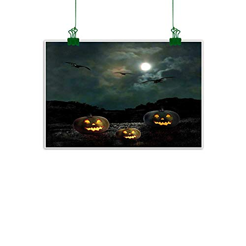 Halloween Wall Art Decor Poster Painting Yard of an Old House at Night Majestic Moon Sky Creepy Dark Evil Face Pumpkins Canvas Painting Decor Gifts W 32