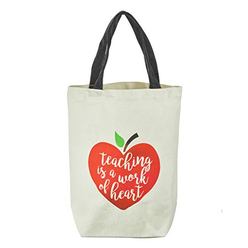 Teaching Is a Work of the Heart Canvas Tote Bag, Teacher Collection ()