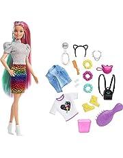 Barbie Leopard regnbåge hår docka (blond) med färgskiftande hårfunktion, 16 hår- och modeleksaker inklusive hårsnodd, borste, modetoppar, kattöron, kattväska för barn 3 till 7 år