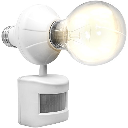 LED Concepts Motion and Dusk to Dawn Sensor Activated Light Bulb Socket Cap for Lamps Bulbs and Fixtures - Great for Closet, Basement, Garage, and more