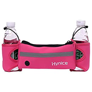 Hydration Running Belt,Hynice Fitness Runners waist pack with water bottle holder ,Cellphone Zipper Pockets for iPhone 6 6plus S7 S6 Fit Men Women (Rose)