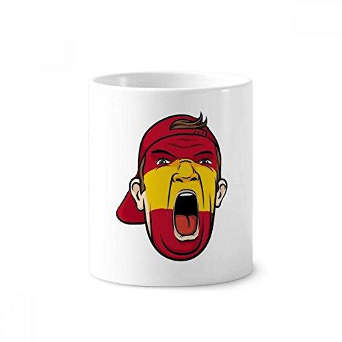 Spain Flag Facial Makeup Mask Screaming Cap Toothbrush Pen Holder Mug White Ceramic Cup 12oz by DIYthinker