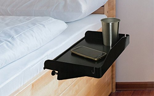 Modern Innovations 15 Inch Bedside Caddy Tray with Cup Holder & Cable Cord Insert for Multipurpose Use as Bedside Table, Breakfast Bed Tray, Small Computer Desk, Kids Shelf & Nightstand (Bunk Bed Accessories)