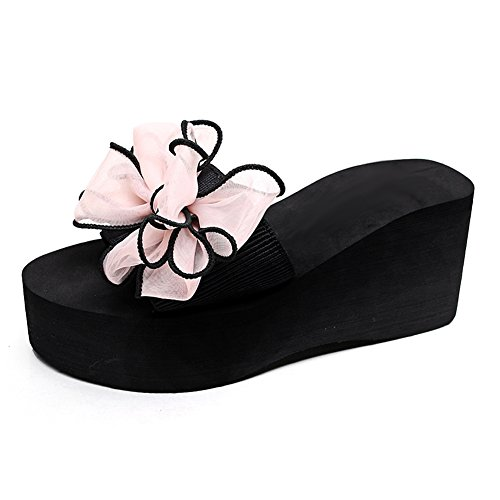 Bowknot 1447 Mother Girls Women's Slipper pink fereshte for Sandals Platform Daughter Wedges Flower Beach and EqOv1