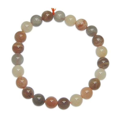 Multi peach color Moonstone 8mm Bead Healing Gemstone Reiki Stretchable Bracelet