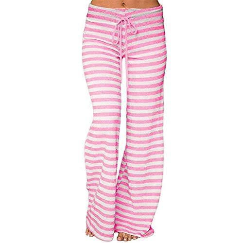 Flannel Pajama Pants Striped (Clearance Sale! Women Pants Women Striped High Waist Elastic Loose Wide Leg Trousers Dancing Yoga Pants)