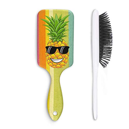 Unisex Detangle Hair Brush Hawaiian Pineapple sunglasses Boar Bristle Paddle Hairbrush for Wet, Dry, Thick, Thin,Curly hair