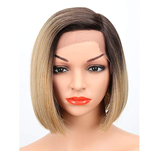 Eliza Short Bob Wigs L Part Lace Front Wigs with Baby Hair Heat Resistant Synthetic Wigs For Black Women Half Hand Tied 130% Density Ombre Blonde Wigs with Dark Roots(Ombre Blonde1)