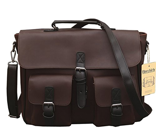 Berchirly Large Capacity Casual Men PU Leather Backpack Messenger Shoulder bags Daypack Handbag