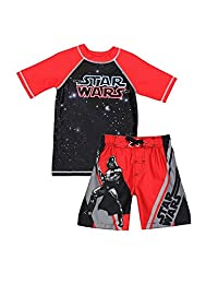 Disney Star Wars Boys Swim Trunks Rash Guard Swimsuit Set (Little Kid/Big Kid)