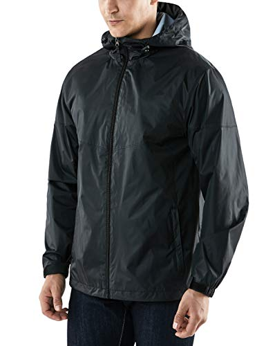 TSLA Men's Windbreaker Defender Front-Zip Packable Stowaway Hood Jacket, Windbreaker(met21) - Black & Black, X-Large