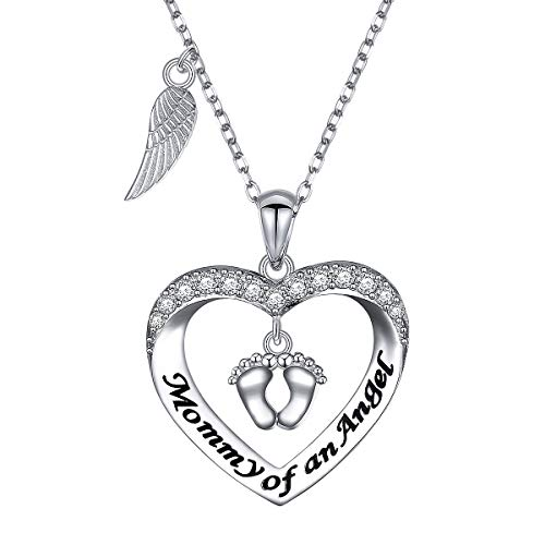 Sterling Silver Mommy of an Angel Necklace Infant Child Loss Memorial Jewelry Sympathy Gift Pregnancy Loss Miscarriage Stillborn Pendant Necklace for -