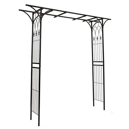 (1. GO Steel Garden Arch, 6'9'' High x 4'11'' Wide, Garden Arbor for Various Climbing Plant, Outdoor Garden Lawn Backyard)