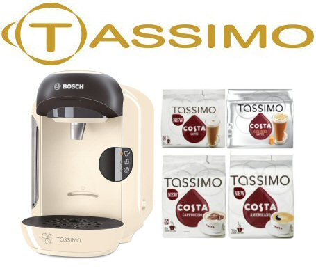 Bosch Tassimo Vivy Tas1257gb Hot Drinks Machine Cream Starter Set Cw 4 Packet Set Of Costa Coffee Flavour T Discs And Cw Stanley Key Tape