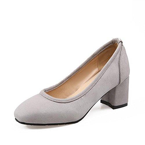 VogueZone009 Damen Ziehen auf Mittler Absatz Nubukleder Rein Quadratisch Zehe Pumps Schuhe Grau