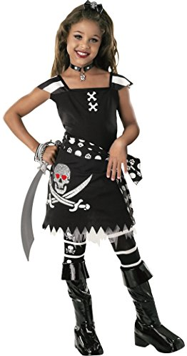 Drama Queens Child's Scar-Let Costume, (Glitter Skull Tights)