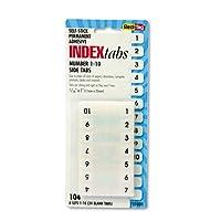 Redi-Tag: Pestañas de índice de plástico autoadhesivas de montaje lateral nº 1-10, 1 in, blanco, 104 /paquete -: - Se venden como 2 paquetes de - 104 - /- Total de 208 cada uno