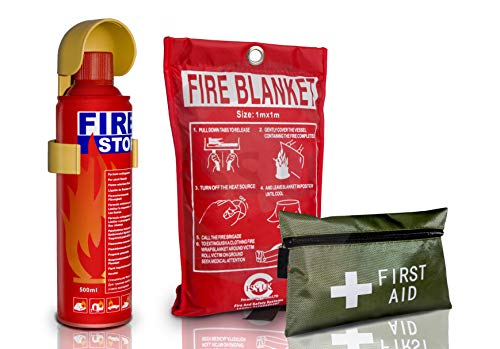 Introductory Offer on 500ml Fire Extinguisher + 42 Pieces First Aid Kit + Fire Blanket. Ideal for Home Kitchen Taxi Caravans Boats Restaurants Workshops and Offices.