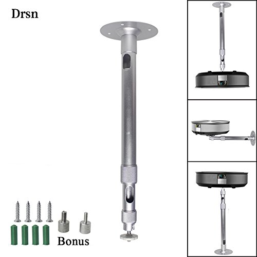 Universal Drop Ceiling Projector mount Height Extendable Projector Mount Wall and Drop Ceiling Projector Mount 3-in-1 360° Rotatable Head Extendable Length for Projectors CCTV DVR Camera, Silver