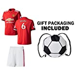 JerzeHero Manchester Pogba #6 Kids Youth 3 in 1 Soccer Gift Set ✓ Soccer Jersey ✓ Shorts ✓ Drawstring Bag ✓ Home Short Sleeve